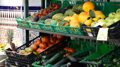 Fruit sale in market or store fruits and vegetables in the street Stock Footage