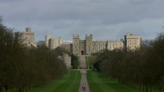Windsor Castle filmed from the Long Walk 06. 4K Stock Footage