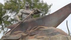 Grey Rock Public Sculpture in GUAM, USA Stock Footage