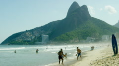 People playing and enjoying at Ipanema beach Stock Footage