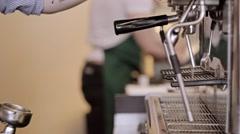 Barista making cappuccino. Makes espresso and steam milk Stock Footage