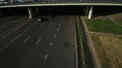 Aerial view of highway interchange in Moscow city Stock Footage