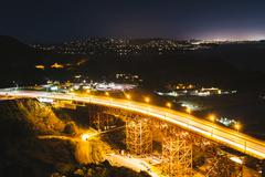 Stock Photo of View of US 101 at night, from   Golden Gate National Recreation Area, in San