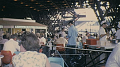 Expo 1967 in Montreal: people sitting on a bar Stock Footage
