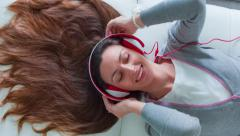 Music Beautiful Girl Young Attractive Mp3 Headphones Female Smile Portrait Fun Stock Footage