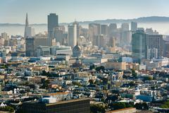 View of the downtown skyline from Corona Heights Park, in San Francisco, Cali Stock Photos