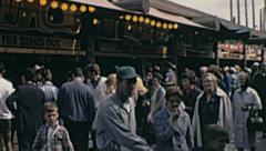 Expo 1967 in Montreal: crowd walking in the Fair Stock Footage