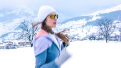 Winter Sport Cold Snow Runner Outdoor Jogger Lifestyle Healthy Fit Fitness Girl Stock Footage