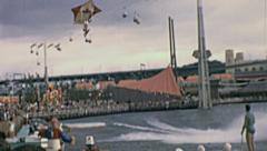 Expo 1967 in Montreal: hang glider exhibit Stock Footage
