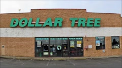 Stock Video Footage of Dollar Tree storefront discount retailer, loop