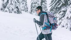 Man Lost Snow Mountain Travel Winter Holding Person Adventure Hiking Backpack Stock Footage
