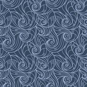 Vector seamless hand-drawn pattern of curls - stock illustration