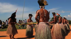 Terena Indians dancing to celebrate the indian day. Brazilian indigenous people Stock Footage
