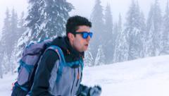 Sport Man Nature Winter Fog Hiker Snow Adventure Climber Clouds Hiking Ice Stock Footage