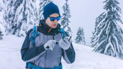 Travel Lost Male Winter Snow Man Backpack Tourist Holding Hiker Hike Standing Stock Footage
