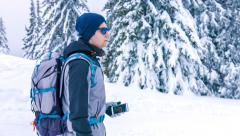 Winter Backpacker Landscape Looking Lost Male Snow Man Backpack Travel Tourist Stock Footage