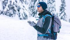 Winter Backpacker Landscape Looking Travel Lost Male Snow Man Backpack Tourist Stock Footage