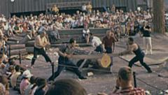 Expo 1967 in Montreal: woodcutter exhibit - stock footage