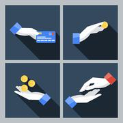 Set of four vector icons with hands holding the coins - stock illustration
