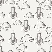 Vector seamless pattern with rockets, clouds and sun Stock Illustration