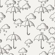 Vector seamless pattern with umbrellas in the rain Piirros