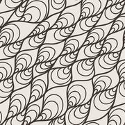 Vector seamless pattern of wavy lines and twisted - stock illustration