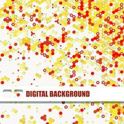 Vector background of different color hexagons - stock illustration