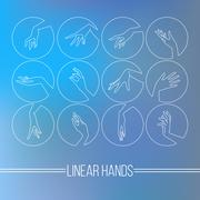Set of vector icons of linear mapping graceful female hands Stock Illustration