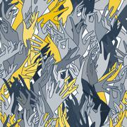 Vector seamless pattern of graceful female hands bound in yellow and blue col - stock illustration