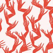 Vector seamless pattern of graceful female hands bound similar to coral branc - stock illustration
