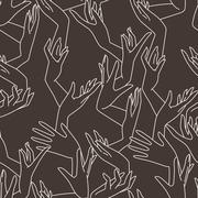 Stock Illustration of Vector seamless pattern of graceful female hands intertwined