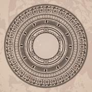 Vector circular pattern in the style of the Aztec calendar stone - stock illustration