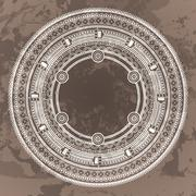 Vector circular pattern in the style of the Aztec calendar stone Piirros