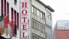 Sign for Hotel in Cologne Germany Establishing Shot 4k Stock Footage