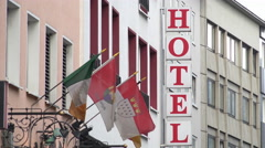Hotel sign at European hotel 4k Stock Footage