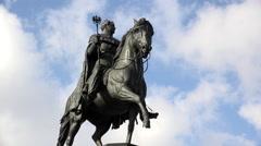 Equestrian Statue of Friedrich Wilhelm III in Cologne Germany 4k Stock Footage