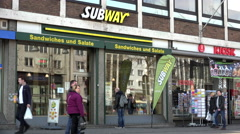 Subway Sandwich shop in Cologne Germany 4k Stock Footage