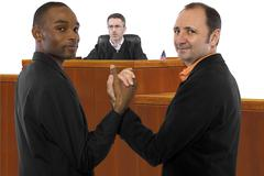 Judge Against Same-Sex Marriage and Resilient Gay Couple - stock photo