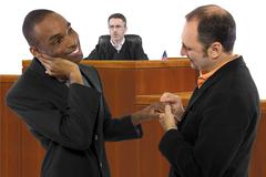 Judge Against Same-Sex Marriage and Resilient Gay Couple Stock Photos