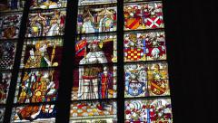 Glass window mosaic in Cologne Dom 4k Stock Footage