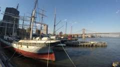 4k Old boat from Pier 15 NY Stock Footage