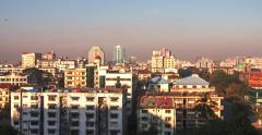 Panoramic view of Yangon, Myanmar at sunrise with moving shadows and sun light Stock Footage