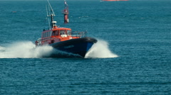Pilot Boat Coming Into Port Stock Footage