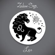 Leo zodiac sign of horoscope circle emblem in cartoon style - stock illustration