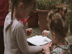 Mother and children planting seeds in tray Stock Footage