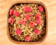 Raspberry Granola - stock photo