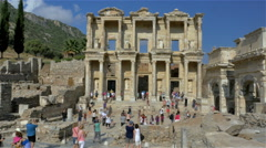 Tourists Roman Library of Celus in Ephesus, Turkey - 4K 0012 Stock Footage