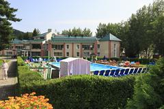 Outdoor pool at the Pension TransSib in resort Belokurikha - stock photo