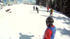 Skier rides on the ski slopes Stock Footage