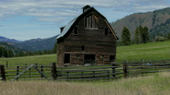 Wooden hay barn in the wind--4K Stock Footage